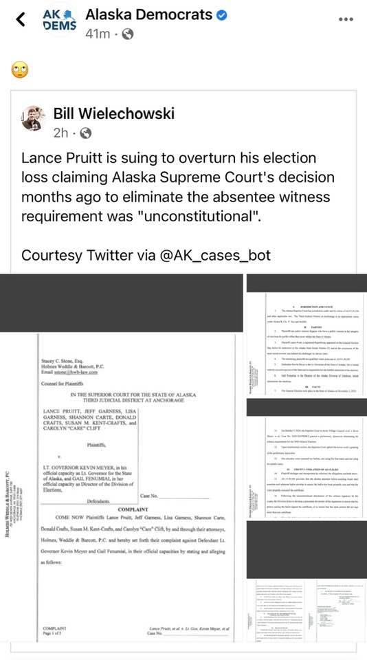 Lance Pruitt Running for State House Sues Alaska for Changing the laws that Safeguard Our Elections PIc 4